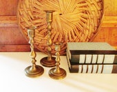 Vintage Brass Trio Set Candle Holders, Set of Three, Brass Decor, Brass Candlesticks, Graduated Candlesticks