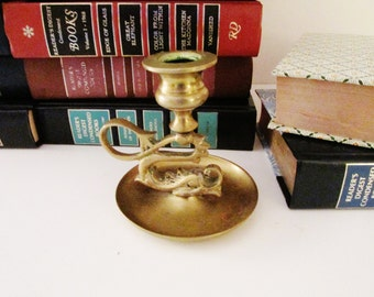 Vintage Brass Dolphin Candleholder, Chamberstick, Brass Decor, Hollywood Regency