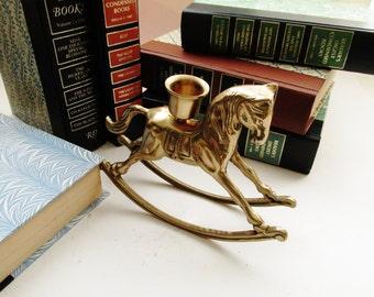 Vintage Brass Rocking Horse Candleholder, Holiday Decor, Christmas Decor, Mantel Decor, Brass Horse, Horse Candlestick Holder