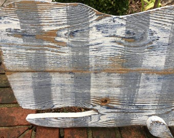 Whale Sign Art Striped Thick Vintage Wood Beach House Decor by CastawaysHall - Ready to Ship