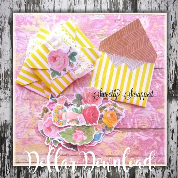 Shabby Chic Rose Embellishments, PDF Printable, DIY, Scrapbooking, Cardmaking, Digital Download, Cottage Rose, Planner, Collage