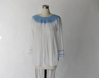 1970s Embroidered Gauze Peasant Blouse // 70s Vintage Smoked Blue and White Cotton Top // Medium