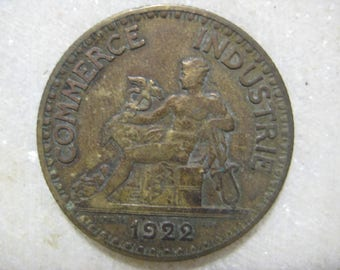 1922 French Coin, Bon Pour 2 Francs, Chamber of Commerce