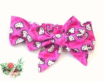 Hello Kitty Bow Headband (Sizes Newborn - Adult) Hello Kitty birthday party, cat lover, baby shower gift, hello kitty present, 1st birthday