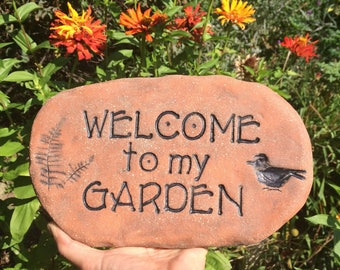 "Garden decor, terracotta stepping stone. Welcome sign. Little bird, inscription. Arts crafts style font. ""Welcome to my garden"" sign"