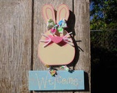 Spring, Easter, Welcome, Sign, Bunny, Rabbit, Wood Craft