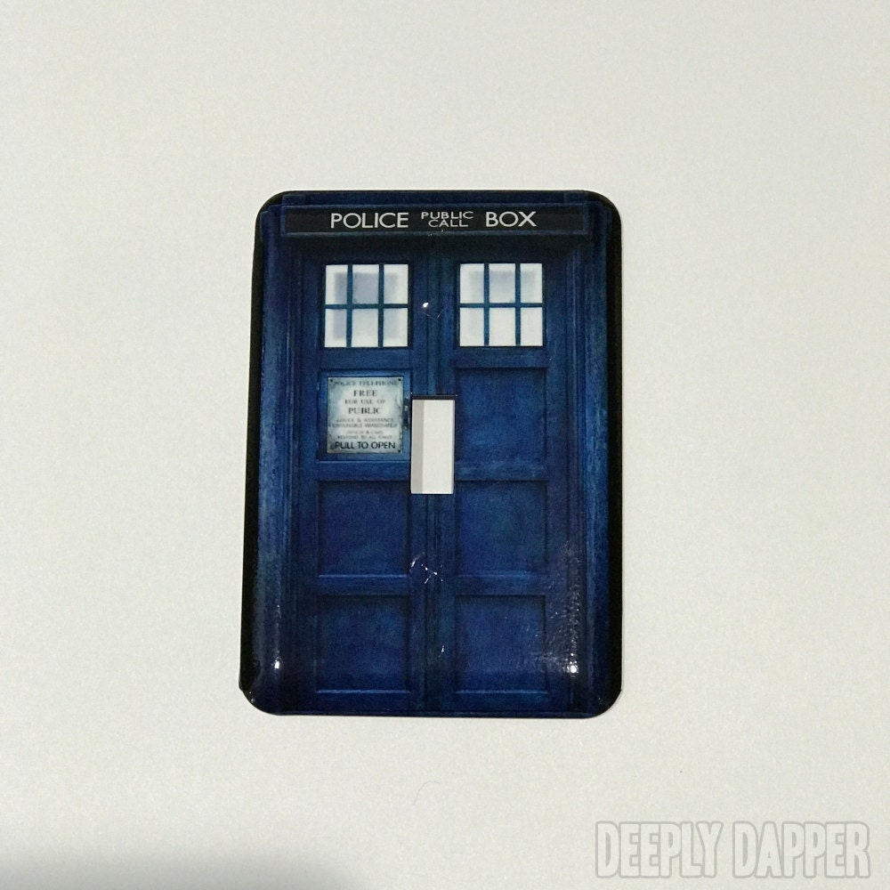 Doctor who inspired tardis light switch plate dr by for Tardis light switch cover