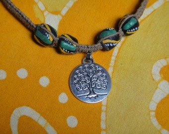 Tree of Life Pendant African Bead Hemp Necklace Mens Jewelry Gift for Him Tribal Choker