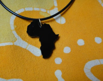 Black Africa Laser Cut Pendant Necklace