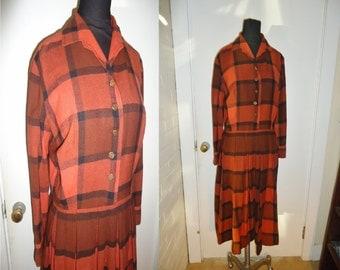 Orange Autumnal Plaid Wool Vintage 1950's Women's Pleated Dress M
