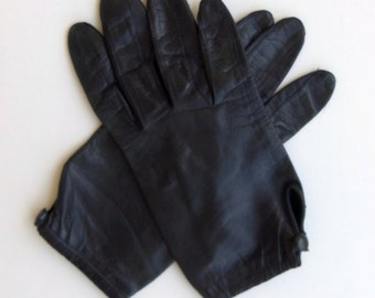 Vintage 60's Glove Black Leather Wrist Length Side Vent with Button Size 6.5 - 7