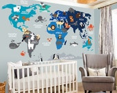 World Map decal - Map decal - World Map- Children Wall decal - Map wall decal - World decal - Nursery decal - map