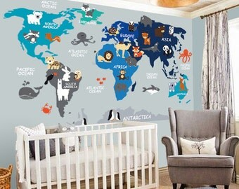 World map decal etsy nursery wall decal wall decal nursery world map decal map decal children gumiabroncs Image collections
