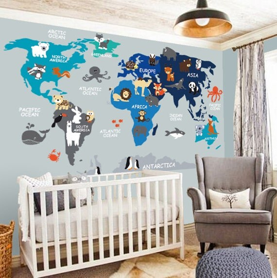 Nursery wall decal wall decal nursery world map decal like this item gumiabroncs Choice Image