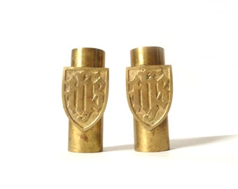 Vintage Brass Ecclesiastical IHS Candle Holders … Pair Candlesticks, Altar Candles, Christian Relic, Tabletop Decor, Short Candle Sticks