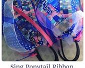 Sing Movie Hair Bow Ponytail Holder: Ribbon Hair Streamer + Disney Print + Birthday Party Favor + Cheer Hair Bow + Theme Park + Scrunchie