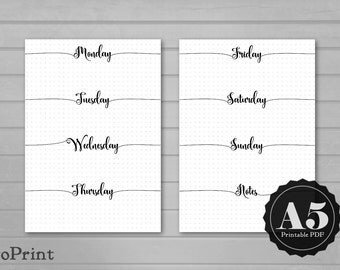 Printable Weekly Planner Inserts - A5 - Calligraphic Script - Bullet Journal Spread with Grids - Horizontal Week Layout Undated Wo2P - BuJo