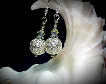 White Pearl Drop Silver Filigree Victorian Earrings, Ivory Swarovski Crystal Pearl Edwardian Bridal Dangles, Titanic Temptations 17001