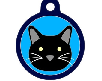 Pet ID Tag - Black Kitty Cat Pet Tag, Dog Tag, Cat Tag