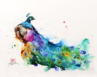 PEACOCK Watercolor Print, Peacock Painting, Bird Art, by Dean Crouser