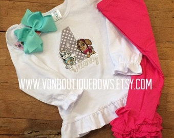 Sky everest puppy bow Personalized Boutique Birthday First 1st 2T 3 4 5 6 8 Girls Applique Short Long Sleeve Shirt Tank icing leggings pink