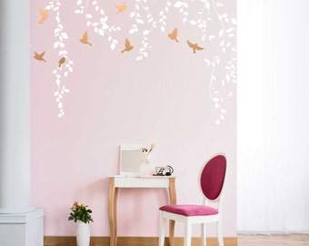 Vine Wall Decal for Baby Girl Nursery Décor - Wall Vines Nursery Decals Large Tree Wall Decal - Baby Wall Decal Tree with Birds - WB402