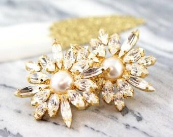 Bridal Swarovski Cluster Earrings,Bridal Cluster Earrings,Bridal Swarovski Earrings,Pearl Earrings,Gift for her,Bridal Earrings.