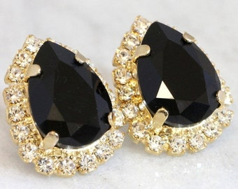 Black Earrings,Black Crystal Earrings,Black Swarovski Earrings,Black Teardrop Earrings,gift for woman,Gold Black Studs, Black Silver Studs