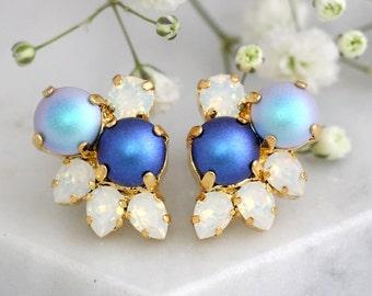 Blue Earrings, Bridal Blue Pearl Earrings, Swarovski Blue Earrings, Blue Sky Bridal Cluster Earrings, Pearl Earrings, Bridesmaids Blue Studs