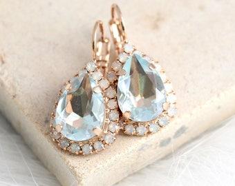 Aquamarine Earrings, Light Blue Earrings, Bridal Aquamarine Drop Earrings, Opal Drop Earrings, Light Azore Earrings, Swarovski Earrings
