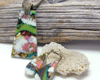 Fused Glass Pendant and Earring Set, Fused Glass Jewelry, Faux Agate, Artistic Glass, Colorful, Green Brown Pink Multi-Color (Item #10890-P)