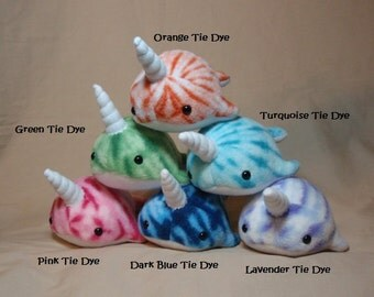 Made to Order Your Choice of Color Tiny Baby Narwhal Fleece Plush Ocean Marine Sea Creature Stuffed Animal