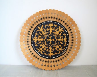Vintage wood wall decor/ boho wall decor/ decorative wood plate/blue and gold