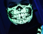 NEW SUPER GLOW in the dark Skull Half Face Black Bandana Mask Neck Warmer Dust Neck Shield dubstep raver rave gaiter goth punk Psy Goa