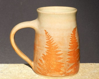 Big Coffee Mug, 22 oz. Stoneware, Handmade Pottery, Wheel Thrown Mug,Country, Kitchen Decor, Microwave Friendly,Drink and Barware, Botanical