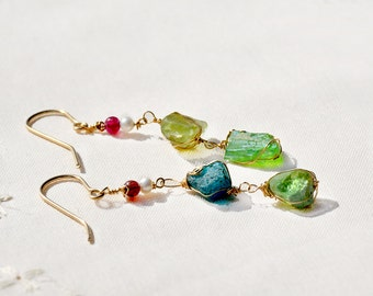 Long Uneven Gold Filled Roman Glass Earrings+ Pearls& Pink Tourmaline Beads. Made in Israel. Roman Glass Jewelry. Handmade. Free Shipping