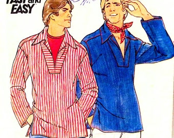 1960s Chest 32 Mens Shirt Boho V neck Small Vintage Sewing Pattern Butterick 5282 c 60s