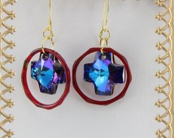 Handmade  Earrings  Vintage Red Czech Glass And Swarovski Crystal Blue Crosses On Gold Plated Rings And Hooks