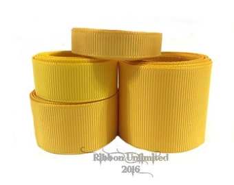 10 Yards WHOLESALE Solid Yellow grosgrain ribbon LOW SHIPPING Cost