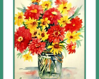 Watercolor of Bouquet Yellow and Orange Flowers by Martha Kisling