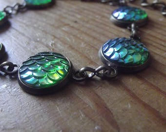 Green Iridescent Dragon Mermaid Fish Scale Bronze Braclet