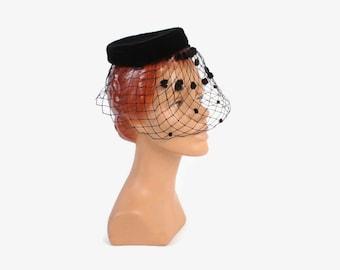 Vintage 60s VEIL Hat / 1960s Black Velvet Hat with Diamond Net Veil