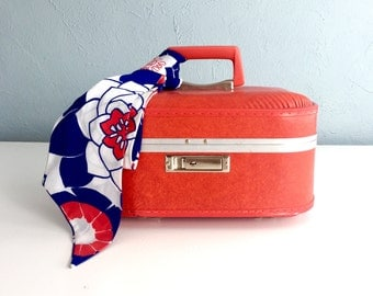 Vintage Red Train Case with Vintage Scarf, Small Suitcase, Vintage Luggage, Cosmetic Case, Makeup Case, Overnight Case, Vintage Suitcase
