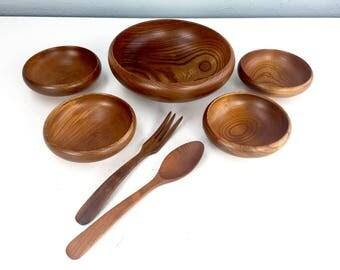 Mid Century Wooden Apco Salad Set, Vintage Salad Bowl, Salad Servers, Vintage Wood Salad Bowl Set, Japan