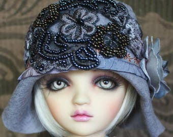 Stylish Jazz Baby Beaded Gunmetal Gray Felt Flapper Hat For Ball Jointed Dolls