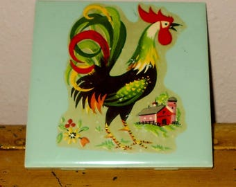 Handmade Tile with Rooster - Vintage - Farmhouse - Country - Shabby Chic