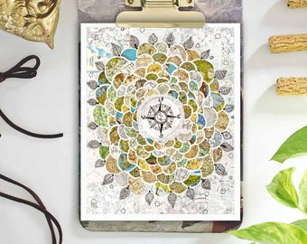 travel art - map print - compass rose print - map wall art - mixed media collage - travel decor