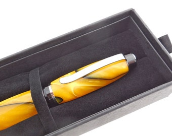 Cigar Style Pen, Handmade in Orange, Yellow and Black Colors
