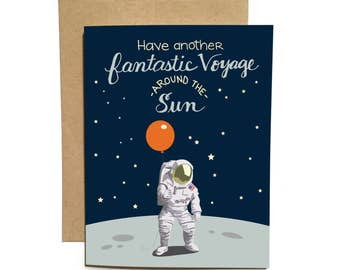 Astronaut on Moon with Balloon / Fantastic Voyage Around Sun Birthday Card / Outer Space Travel  / Hand Lettered Flopsock Design / ABD-01