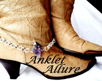 SINGLE Elegant Amethyst Boot Chains Silver Boot Jewelry Western Boot Bracelets Amethyst Foot Jewerly